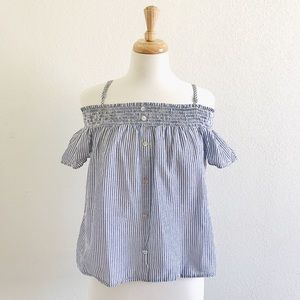 Tops - Blue & White Striped Top
